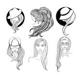 Set of line art portraits — Stock Vector