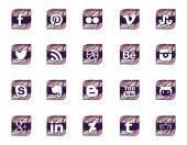 Twenty social icons in wavy style — Stock Vector