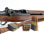 M1 Garand Rifle, clips and ammunition on white background. — Stock Photo
