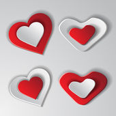 Set paper hearts — Stock Vector