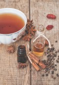 Tea and dried ingredients — Stockfoto