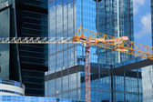 Construction site in business district — Stock Photo