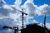 Construction site with a few cranes — Stock Photo