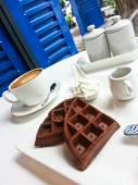 Chocolate waffle with coffee — Stock Photo