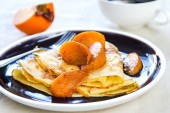 Crepe with sauteed persimmon — Stok fotoğraf