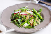 Ouinoa with Asparagus and Feta salad — Stock Photo