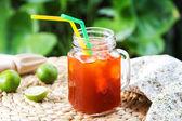 Thai Ice tea with lime — Stock Photo