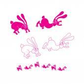 Group of Rabbit  Logo sign — Stock Vector