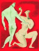 Adam & Eve, drawing — Stock Photo