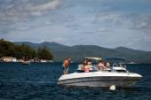 Motor boats on the Lake George — Stock Photo