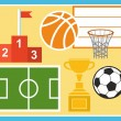 Sport, physical education, football, basketball, Cup, prize, illustration. — Stock Vector #73640039