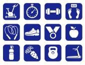 Fitness, gym, monochrome icons. — Stock Vector