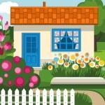 Summer house, garden, flowers, lawn. — Stock Vector #75839193