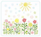 Flowers, sun, children, flat, coloured illustrations. — Stock Vector