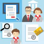 Banking, Finance, credit application form, managers, issuing cards, color flat illustrations, icons. — Stockvektor