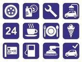Icons car service, car wash, polishing, tire, cafes, monochrome, flat. — Vettoriale Stock
