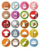 Icons, kitchen, restaurant, food, drinks, utensils, colored, flat. — Stock Vector