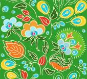 Seamless green pattern with flowers, blue berries, orange seeds. — Stock Vector