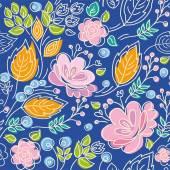 Fiori luminosi, sfondo, senza cuciture, blu del contorno, rosa, foglie di arancio. — Vettoriale Stock