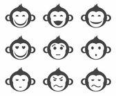 Monkeys, smiley, small, icon, monochrome. — Stock Vector