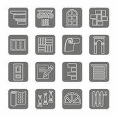 Icons, repair, construction, building, gray, contour, grey background. — Stock Vector