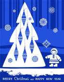 Открытки с Рождеством и новым годом, север, синий фон. — Cтоковый вектор