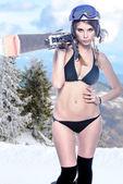 Freeride naked girl — Stock Photo