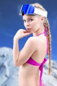 Pretty girl skier — Stock Photo