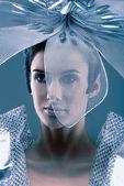 Robot looking portrait — Stock Photo