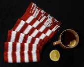 Composition with red-white scarf — Stock Photo