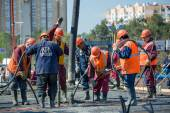 Concreting of the superstructure of the bridge — Stock Photo
