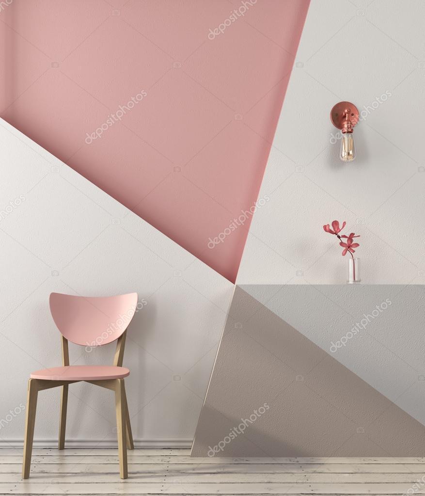 Sedia rosa sullo sfondo di una parete geometrica — foto stock ...