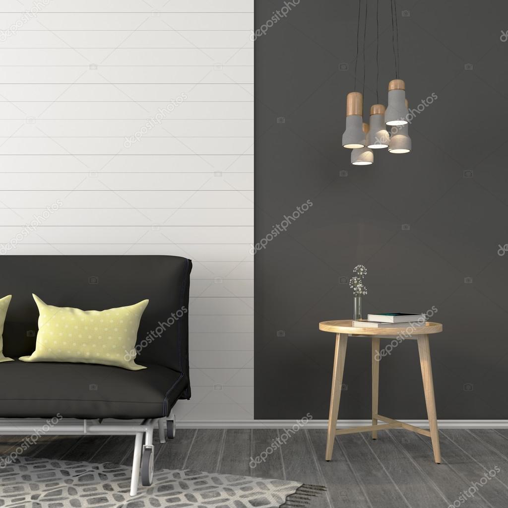 Elegant gröna vardagsrum med brun soffa och trägolv ...