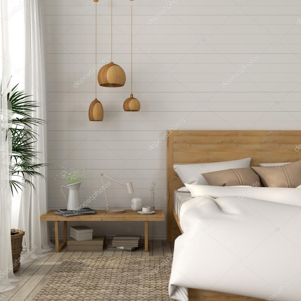 Sovrum med en ljus beige toner — Stockfotografi © JZhuk #112264786
