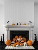 White fireplace decorated with pumpkins for Halloween — Stock Photo