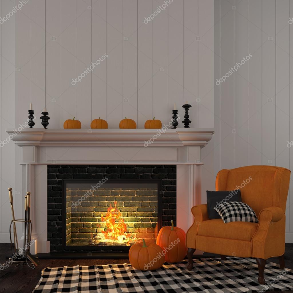Vintage oranje leunstoel bij de open haard — stockfoto © jzhuk ...