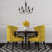 The elegant interior  of dining room with yellow  chairs — Stock Photo