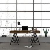 Stylový interiér domácí kancelář s transparentní židle — Stock fotografie