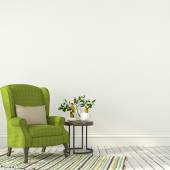 Green chair with a table in white interior — Stock Photo