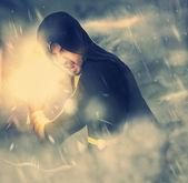 Photo of evil sorcerer in the smoke — Stock Photo
