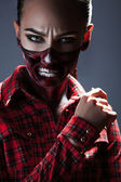 Female with scary make up for halloween night — Stock Photo