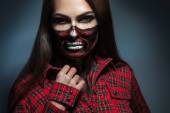 Horizontal portrait of adult girl with scary face art for hallow — Stock Photo