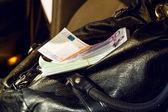 Handbag full of money EUR — Stock Photo