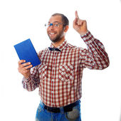 Nerd shows that books are very important in our lives — Stockfoto
