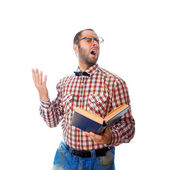 Square photo of nerd in glasses singing songs from the book — Stockfoto