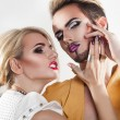 Passionate photo of beautiful couple both with nice makeup — Stock Photo #80080852