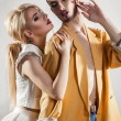 Stylish couple in love. Both with makeup. Vertical photo — Stock Photo #80081044