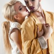 Vertical passionate photo of couple in love. Both with makeup — Stock Photo #80081058