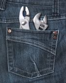 Rear jeans pocket with tools — Stock Photo