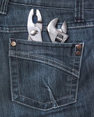 Rear jeans pocket with tools — Stok fotoğraf